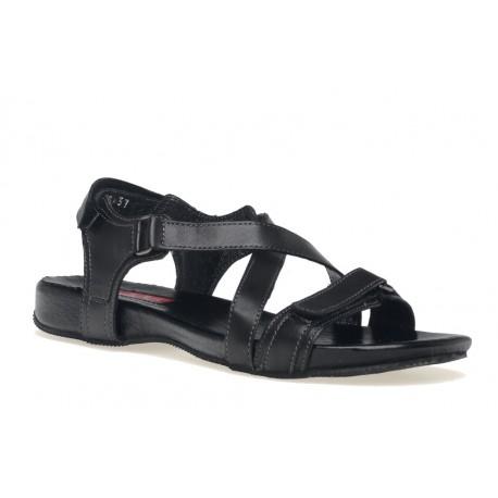 Sportowe czarne skórzane sandałki