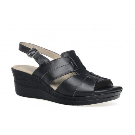 Damskie skórzane sandały na koturnie