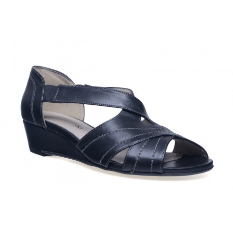 Damskie eleganckie sandały koturna skóra