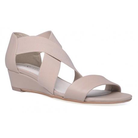Damskie skórzane sandały rzymianki z elastycznymi gumkami
