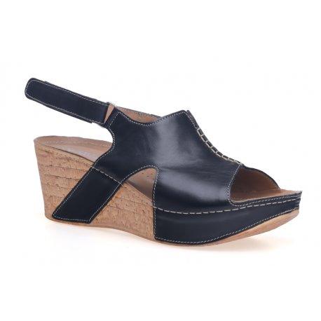 Damskie sandały na koturnie skóra platforma