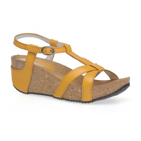 Damskie sandały na korku i koturnie skóra platforma