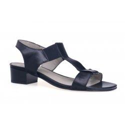Damskie czarne sandały na obcasie skóra naturalna