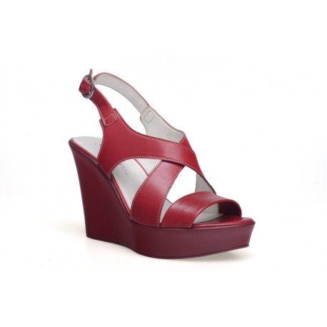Damskie sandały na koturnie włoska skóra