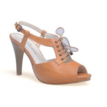 Skórzane sandałki czółenak szpilka