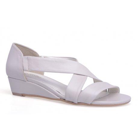 Damskie skórzane sandały koturna