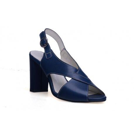 Skórzane damskie sandały obcas słupek