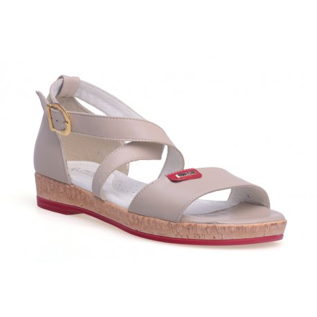 Skórzane damskie sandały płaski obcas