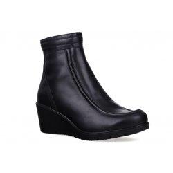 Damskie zimowe botki na koturnie czarne