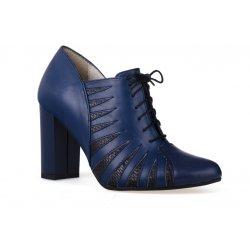 Buty szpilki z granatowej naturalnej skóry