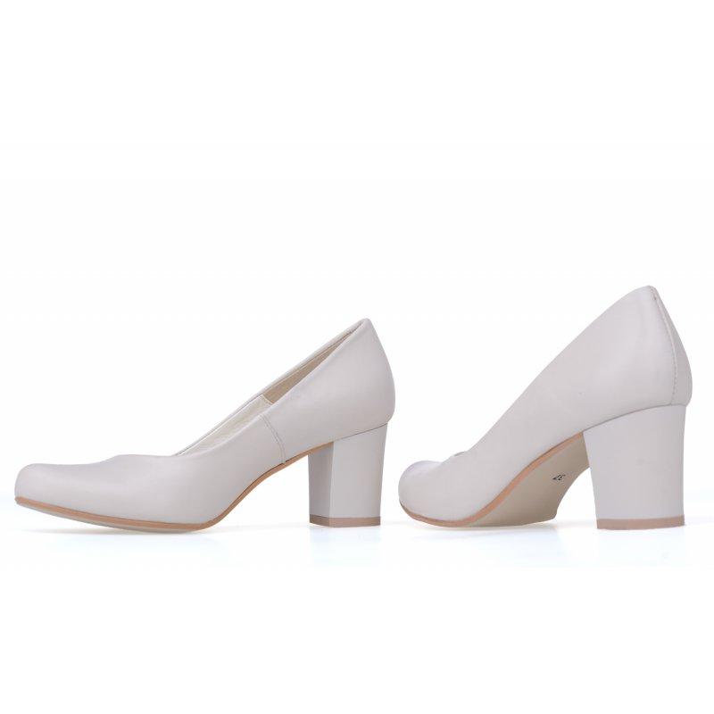 214bb0e0 Czółenka buty na grubym obcasie beżowe 2352 - Modiz.pl