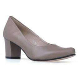 Czółenka buty na grubym obcasie szare