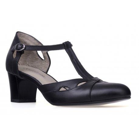 Czarne sandały na grubym obcasie