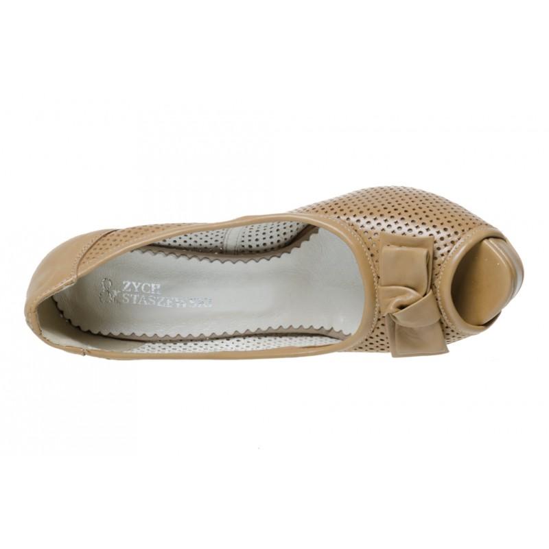 Damskie sandały na obcasie skóra naturalna 2098 Modiz.pl
